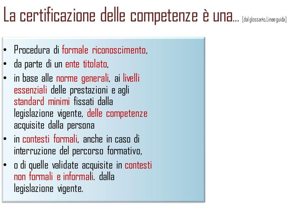 La certificazione delle competenze è una… [dal glossario, Linee guida]